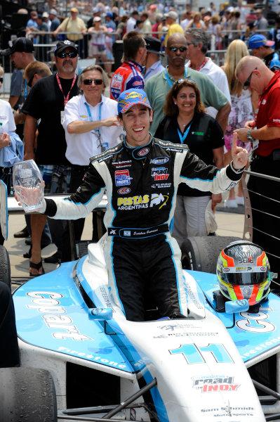 24-25 May, 2012, Indianapolis, Indiana, USAIndy Lights winner Esteban Guerrieri (#11) in Victory Lane.(c)2012, F. Peirce WilliamsLAT Photo USA