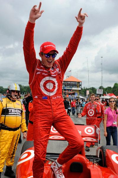 3-5 August, 2012, Lexington, Ohio USAWinner Scott Dixon (#9) celebrates victory.(c)2012, F. Peirce WilliamsLAT Photo USA