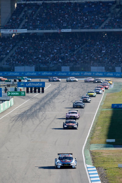 2017 DTM Round 9  Hockenheimring, Germany  Sunday 15 October 2017. Tom Blomqvist, BMW Team RBM, BMW M4 DTM leads  World Copyright: Alexander Trienitz/LAT Images ref: Digital Image 2017-DTM-HH2-AT1-0790