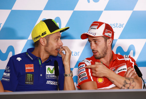 2017 MotoGP Championship - Round 14 Aragon, Spain. Thursday 21 September 2017 Valentino Rossi, Yamaha Factory Racing, Andrea Dovizioso, Ducati Team World Copyright: Gold and Goose / LAT Images ref: Digital Image 693454
