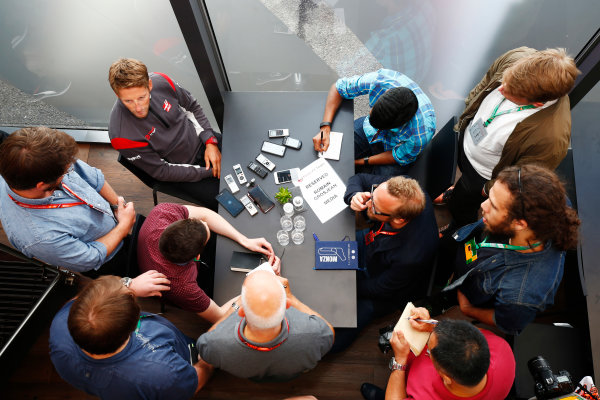 Spa Francorchamps, Belgium.  Thursday 24 August 2017. Romain Grosjean, Haas F1, talks to the media. World Copyright: Andy Hone/LAT Images  ref: Digital Image _ONZ8181