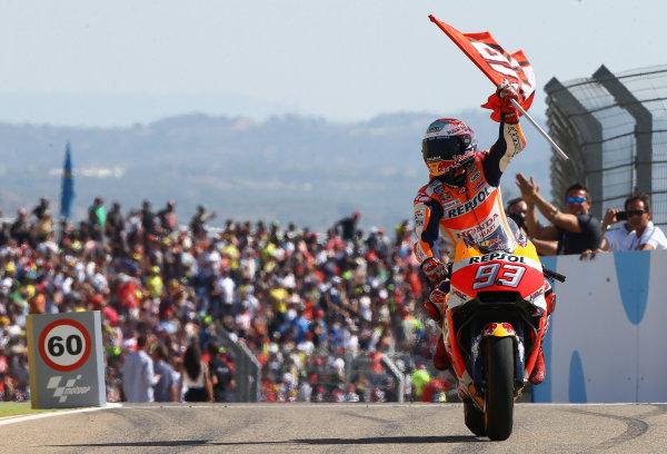 2017 MotoGP Championship - Round 14 Aragon, Spain. Sunday 24 September 2017 Race winner Marc Marquez, Repsol Honda Team World Copyright: Gold and Goose / LAT Images ref: Digital Image 14183