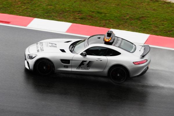 Sepang International Circuit, Sepang, Malaysia. Friday 29 September 2017. An AMG Mercedes safety car during a rain delay in FP1. World Copyright: Zak Mauger/LAT Images  ref: Digital Image _56I0291
