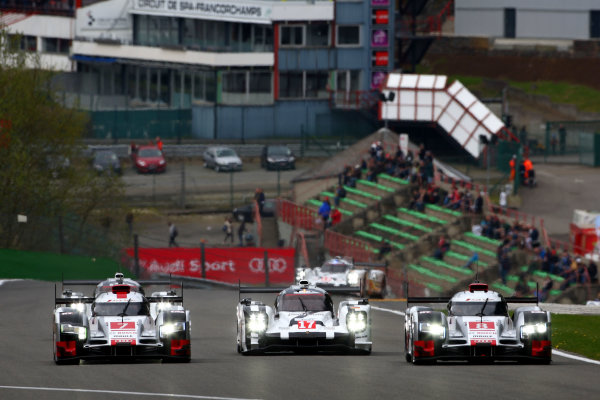 2015 FIA World Endurance Championship, Spa-Francorchamps, Belgium. 30th April - 2nd May 2015. Marcel Fassler / Andre Lotterer / Benoit Treluyer Audi Sport Team Joest Audi R18 e-tron quattro, Timo Bernhard / Mark Webber / Brendon Hartley Porsche Team Porsche 919 Hybrid, and Lucas Di Grassi / Loic Duval / Oliver Jarvis Audi Sport Team Joest Audi R18 e-tron quattro. World Copyright: Ebrey / LAT Photographic.