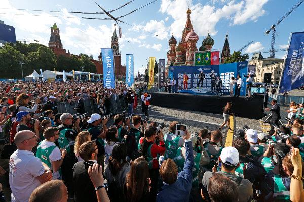 2014/2015 FIA Formula E Championship.  Moscow e-Prix, Moscow, Russia. Saturday 6 June 2015. Nelson Piquet Jr (BRA)/China Racing - Spark-Renault SRT_01E, Lucas di Grassi (BRA)/Audi Abt Sport - Spark-Renault SRT_01E & Sebastien Buemi (SWI)/E.dams Renault - Spark-Renault SRT_01E on the podium Photo: Sam Bloxham/LAT/Formula E ref: Digital Image _SBL5921