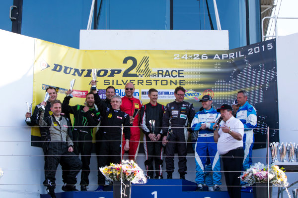 2015 Silverstone Dunlop Britcar 24 Hour. Silverstone, Northamptonshire. 24th - 26th April 2015. Podium. Class 5. First, #62 - Ivo Breukers (NL)/Rik Breukers (NL)/Sjaco Griffioen (NL) - Red Camel - Jordans.nl, Seat Leon, Second, #65 - Paul Mensley (GB)/Nick Boon (GB)/James Ashtno (GB)/Mike Nash (GB)/Paul Anderton (GB) - Mensley Motorsport, Ford Fiesta, Third, #66 - Gavin Spencer (GB)/Frank Pettitt (GB)/Carey Lewis (GB)/Andy Ruthven (GB) - WEC Motorsport 2, Seat Super Copa. World Copyright: Zak Mauger/LAT Photographic. ref: Digital Image _L0U1424
