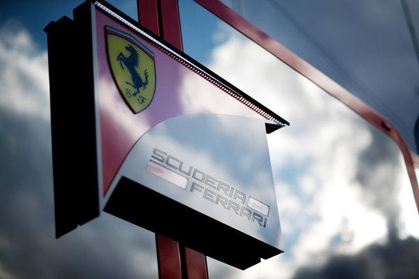 Red Bull Ring, Spielberg, Austria. Friday 19 June 2015. Scuderia Ferrari logo on their motorhome. World Copyright: Alastair Staley/LAT Photographic. ref: Digital Image _R6T0780