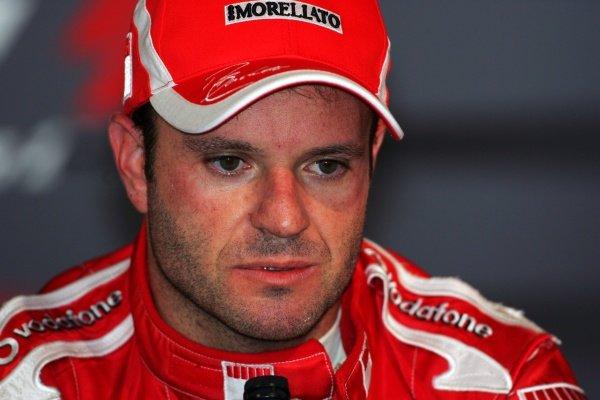 Second place Rubens Barrichello (BRA) Ferrari in the post race press conference. Formula One World Championship, Rd 9, United States Grand Prix, Race, Indianapolis, USA, 19 June 2005.DIGITAL IMAGE