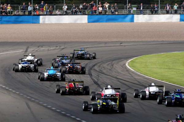 2016 BRDC F3 Championship, Donington Park, Leicestershire. 10th - 11th September 2016. Start of Race 2 Eugene Denyssen (RSA) Sean Walkinshaw Racing BRDC F3 leads. World Copyright: Ebrey / LAT Photographic.