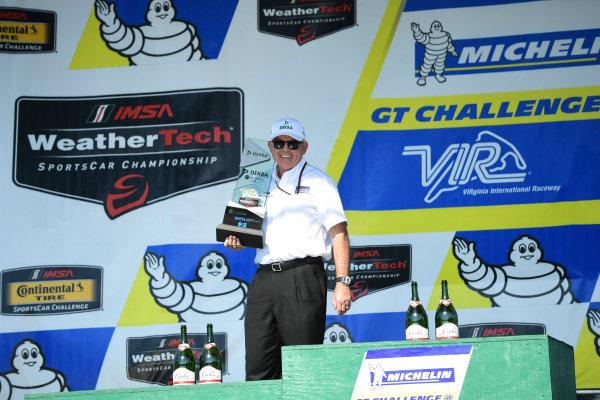 26-28 August, 2016, Alton, Virginia USA Mike Hull of Ganassi Racing receive Green Challenge award. ©2016, Richard Dole LAT Photo USA
