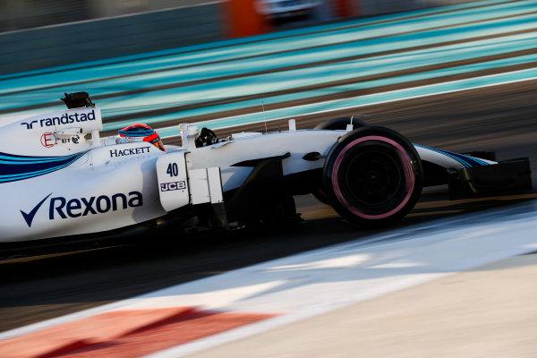Yas Marina Circuit, Abu Dhabi, United Arab Emirates. Wednesday 29 November 2017. Robert Kubica, Williams FW40 Mercedes.  World Copyright: Zak Mauger/LAT Images  ref: Digital Image _O3I1978