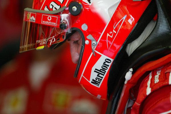 2004 Italian Grand Prix - Friday Practice,Monza, Italy. 10th September 2004 Michael Schumacher, Ferrari F2004, wearing helmet.World Copyright: Steve Etherington/LAT Photographic ref: Digital Image Only