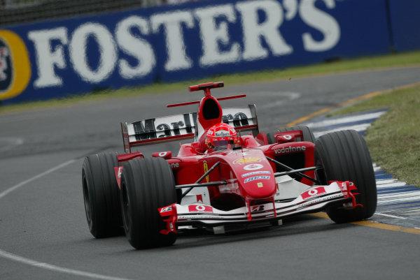 2004 Australian Grand Prix - Sunday Race, Albert Park, Melbourne. Australia. 7th March 2004 Michael Schumacher, Ferrari F2004 , Action. World Copyright: Steve Etherington/LAT Photographic ref: Digital Image Only