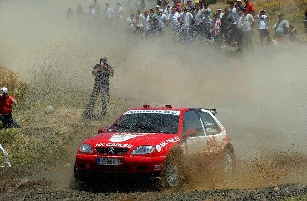 Janne Tuohino (FIN) Citroen Saxo VTS, Junior WRC winner on stage 15.Acropolis Rally, Rd7, Greece. Day Three. 16 June 2002.DIGITAL IMAGE