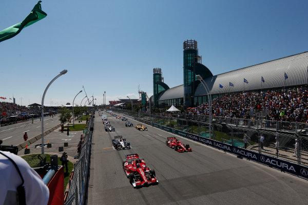 14 July, 2013, Toronto, Ontario, Canada Scott Dixon leads the field on the first IndyCar standing start © 2013, Michael L. Levitt LAT Photo USA