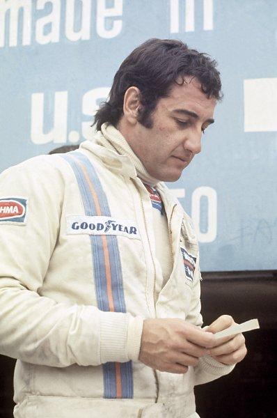1975 Belgian Grand Prix.Zolder, Belgium. 25 May 1975.Carlos Pace, Brabham BT44B-Ford, 8th position, portrait.World Copyright: LAT PhotographicRef: 35mm transparency 75BEL