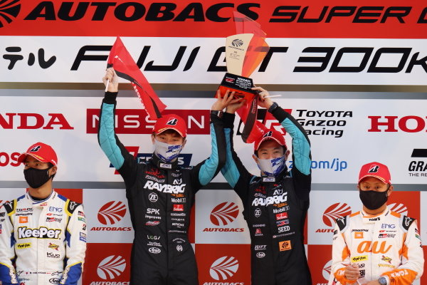GT500 Winners and 2020 GT500 Drivers' Champions Naoki Yamamoto & Tadasuke Makino ( #100 RAYBRIG Honda NSX-GT ) celebrate on the podium