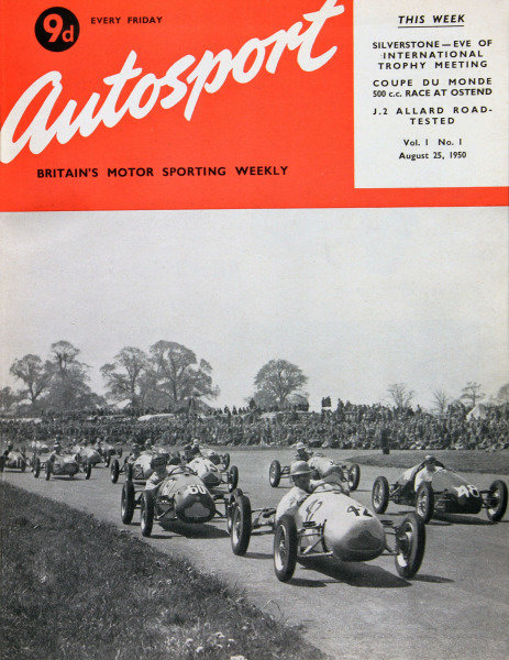 Cover of the first issue of Autosport magazine, 25th August 1950. Main Picture: John Cooper, Cooper-J.A.P. leads Bill Whitehouse, Cooper-Norton and Dom Parker, Parker-J.A.P. on the first corner at the 1950 R.A.C. Grand Prix d' Europe 500cc Race.