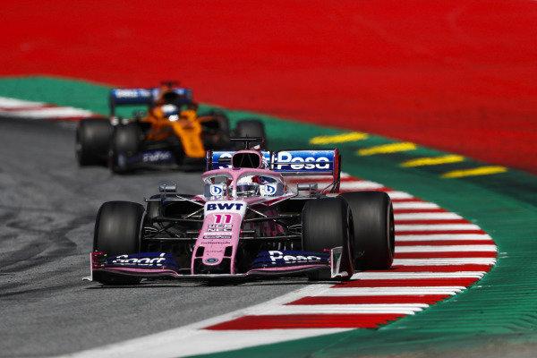 Sergio Perez, Racing Point RP19, leads Carlos Sainz Jr., McLaren MCL34