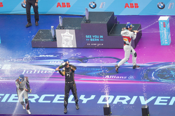 Lucas Di Grassi (BRA), Audi Sport ABT Schaeffler, 1st position, Sébastien Buemi (CHE), Nissan e.Dams, 2nd position, and Jean-Eric Vergne (FRA), DS TECHEETAH, DS E-Tense FE19, 3rd position, and Dieter Gass, Head of Audi Motorsports, celebrate on the podium