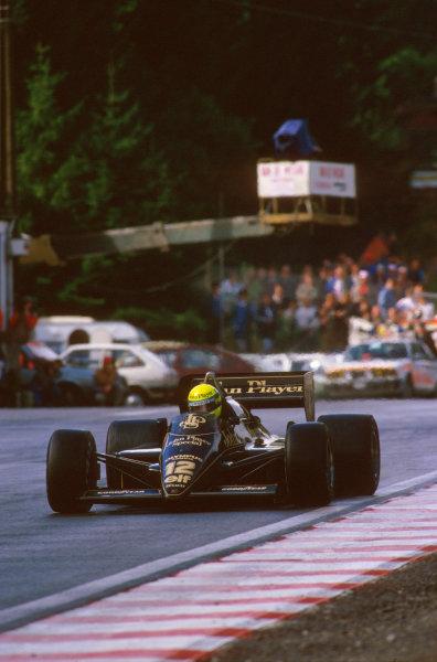 Spa-Francorchamps, Belgium.13-15 September 1985.Ayrton Senna (Lotus 97T Renault) 1st position.Ref-85 BEL 12.World Copyright - LAT Photographic