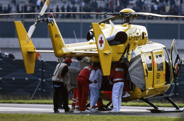 Alex Zanardi is evacuated to hospital by helicopter after his horrific accident.