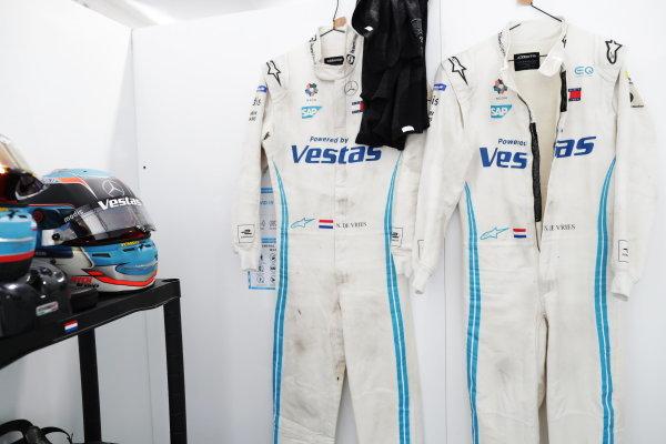 Race suits and helmets for Nyck de Vries (NLD), Mercedes Benz EQ