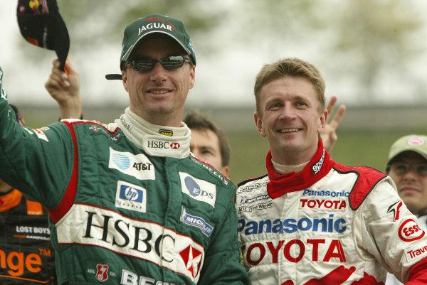 2002 Spanish Grand Prix - RaceBarcelona, Spain. 28th April 2002Eddie Irvine and Allan McNish. Driver Parade.World Copyright: Steve Etherington/LATref: Digital Image Only