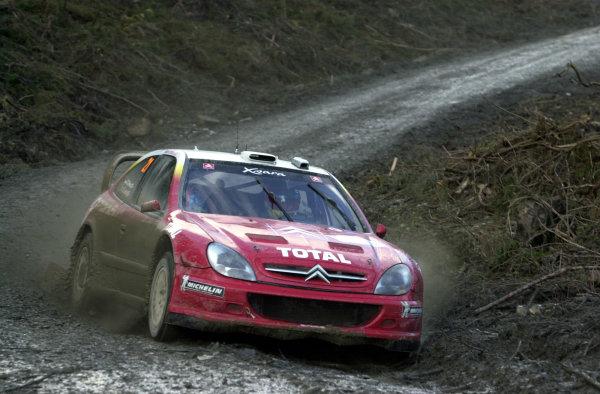 2002 World Rally Championship.Network Q Rally of Great Britain, Cardiff. November 14-17. Sebastien Loeb on Stage 5.Photo: Ralph Hardwick/LAT