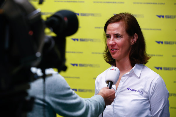 Catherine Bond Muir, CEO, talks to the press