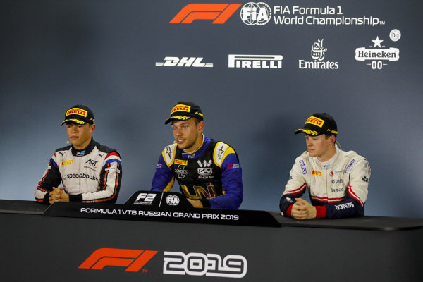 SOCHI AUTODROM, RUSSIAN FEDERATION - SEPTEMBER 29: Nyck De Vries (NLD, ART GRAND PRIX), Luca Ghiotto (ITA, UNI VIRTUOSI) and Callum Ilott (GBR, SAUBER JUNIOR TEAM BY CHAROUZ) during the Sochi at Sochi Autodrom on September 29, 2019 in Sochi Autodrom, Russian Federation. (Photo by Carl Bingham / LAT Images / FIA F2 Championship)