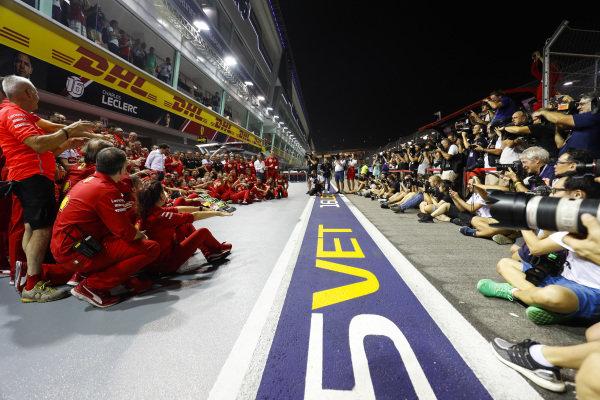 Sebastian Vettel, Ferrari, 1st position, and the Ferrari team celebrate victory