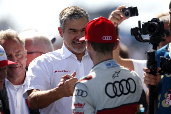 Dieter Gass, Head of DTM Audi Sport with René Rast, Audi Sport Team Rosberg.