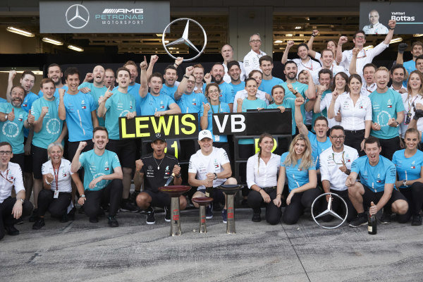 Team celebrations after the Japanese Grand Prix for Lewis Hamilton, Mercedes AMG F1, 1st position, and Valtteri Bottas, Mercedes AMG F1, 2nd position