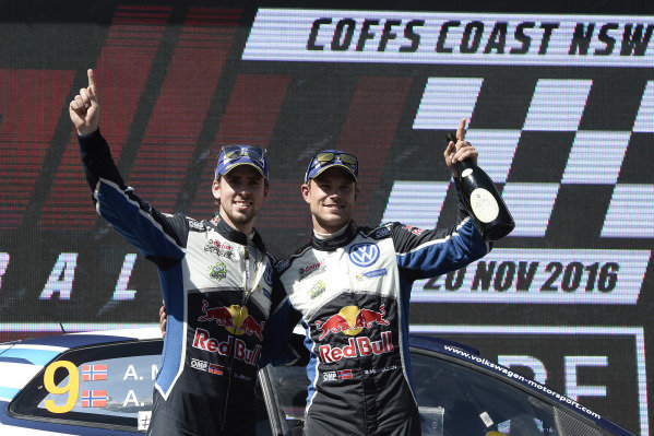 Raly winners Andreas Mikkelsen (NOR) / Anders Jaeger Synnevag (NOR), Volkswagen Motorsport II Polo R WRC celebrate on the podium at FIA World Rally Championship, Rd13, Rally Australia, Day Three, Coffs Harbour, New South Wales, Australia, 20 November 2016.