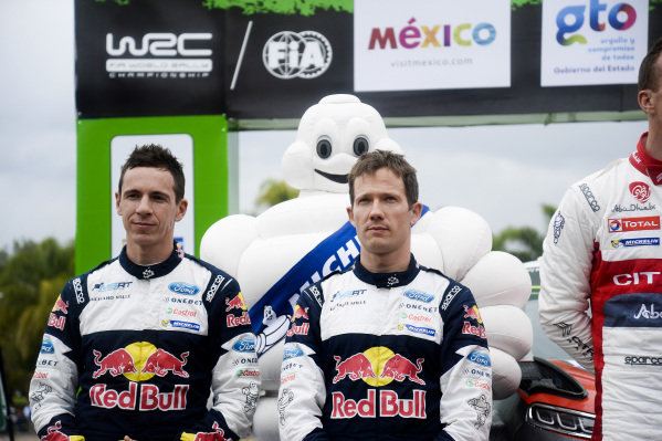 Second placed Sebastien Ogier (FRA) / Julien Ingrassia (FRA), M-Sport World Rally Team WRC on the podium at World Rally Championship, Rd3, Rally Mexico, Day Three, Leon, Mexico, 12 March 2017.