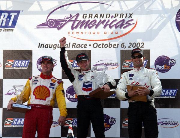 2002 Miami CART, 6 October, 2002, Miami, Florida, USA.Jimmy Vasser, Cristiano da Matta, Christian Fittipaldi (3-1-2)-2002, Lesley Ann Miller, USALAT Photographic