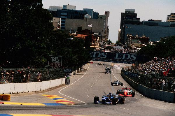 1995 Australian Grand Prix. Adelaide, Australia. 10-12 November 1995. Olivier Panis (Ligier JS41 Mugen-Honda) 2nd position followed by Gianni Morbidelli (Footwork FA16 Hart). Ref-95 AUS 27. World Copyright - LAT Photographic