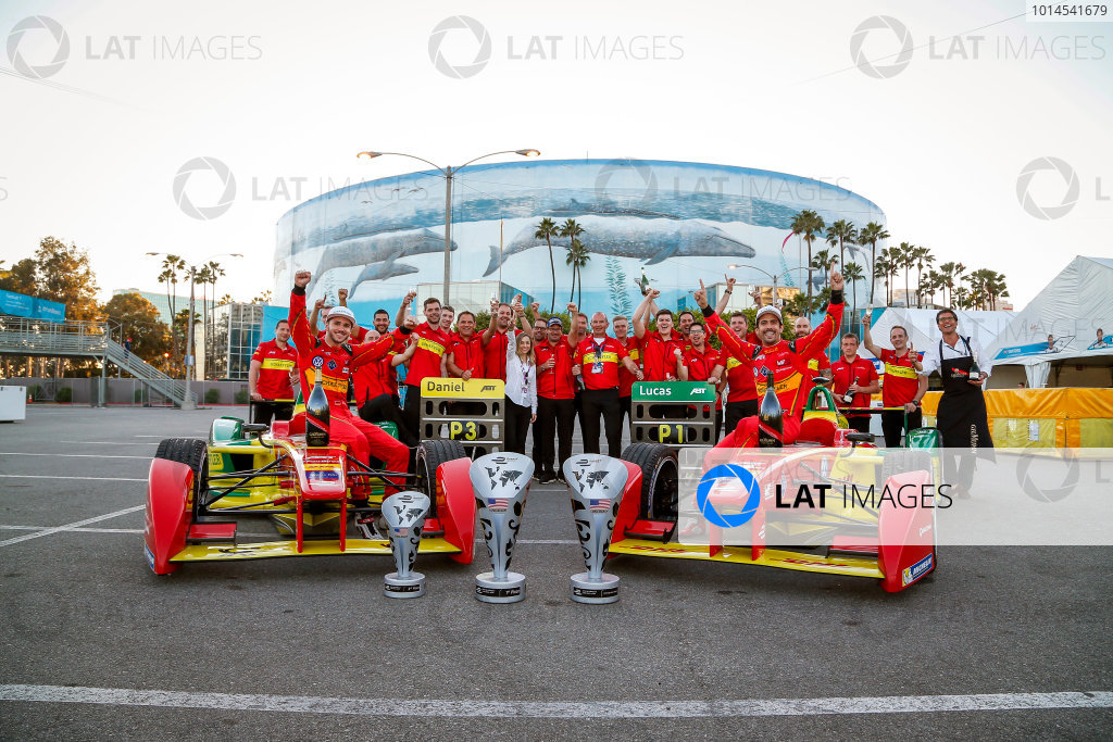 Audi Abt Shuffler Celebrate their race win. Long Beach ePrix, Los Angeles, California, United States of America. Sunday 3 April 2016 Photo: Adam Warner /LAT/FE ref: Digital Image _L5R3537