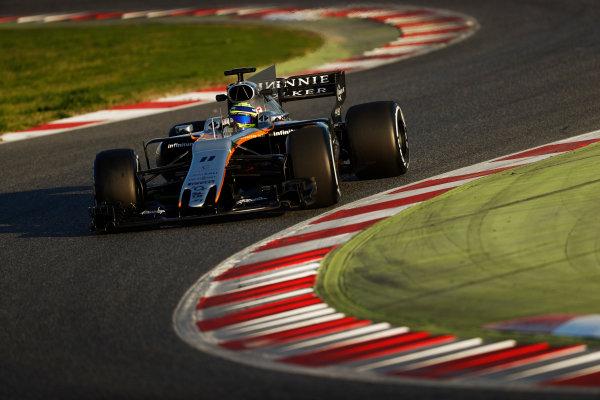 Circuit de Barcelona Catalunya, Barcelona, Spain. Thursday 02 March 2017. Sergio Perez, Force India VJM10 Mercedes. World Copyright: Glenn Dunbar/LAT Images ref: Digital Image _X4I3315