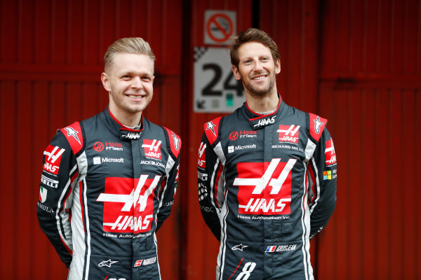HAAS F1 Car Formula 1 Launch. Barcelona, Spain  Monday 27 February 2017. Kevin Magnussen, Haas. and Romain Grosjean, Haas F1.  World Copyright: Dunbar/LAT Images Ref: _31I9901