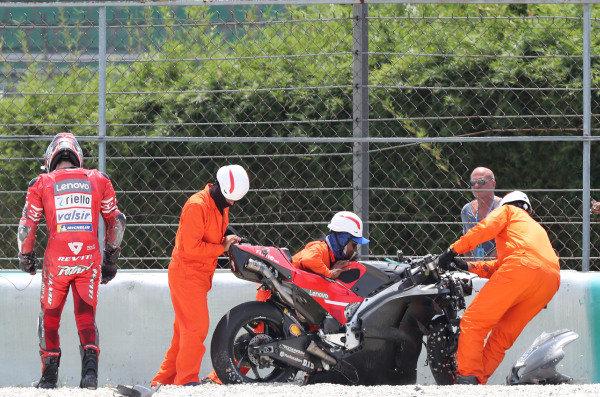 Danilo Petrucci, Ducati Team after crash.