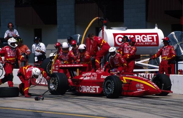Juan Pablo Montoya (COL) Chip Ganassi Racing Honda, finished in 2nd place despite overshooting his pit. FEDEX Champ Car World Series, Michigan, USA, 25 July 1999.