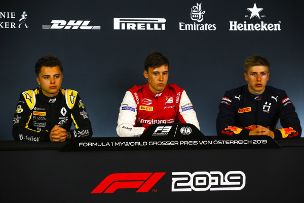 Max Fewtrell (GBR) ART Grand Prix, Marcus Armstrong (NZL) PREMA Racing, and Juri Vips (EST) Hitech Grand Prix