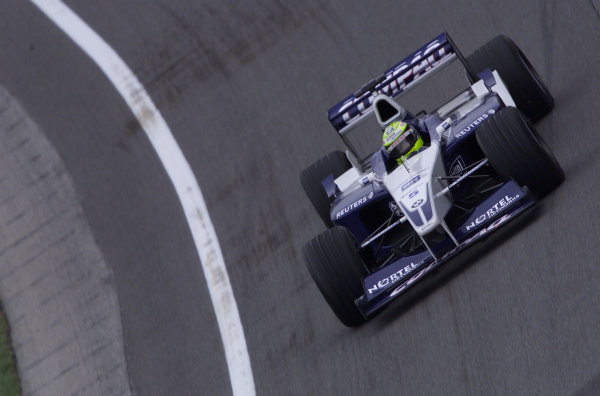 2001 American Grand Prix - QualifyingIndianapolis, United States. 29th September 2001.Ralf Schumacher, BMW Williams FW23, action.World Copyright: Steve Etherington/LAT Photographicref: 18mb Digital Image