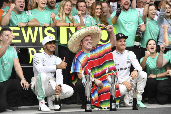 Lewis Hamilton (GBR) Mercedes AMG F1 and Nico Rosberg (GER) Mercedes AMG F1 celebrate with the team at Formula One World Championship, Rd19, Mexican Grand Prix, Race, Circuit Hermanos Rodriguez, Mexico City, Mexico, Sunday 30 October 2016. BEST IMAGE