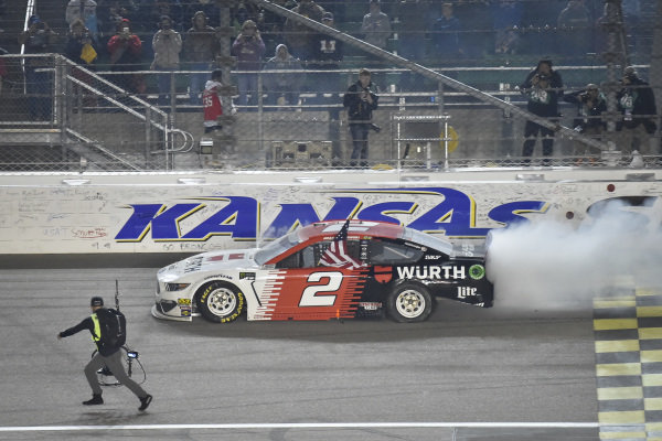 #2: Brad Keselowski, Team Penske, Ford Mustang Wurth celebrates after winning