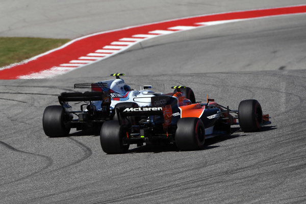 Lance Stroll (CDN) Williams FW40 and Stoffel Vandoorne (BEL) McLaren MCL32 battle at Formula One World Championship, Rd17, United States Grand Prix, Race, Circuit of the Americas, Austin, Texas, USA, Sunday 22 October 2017.
