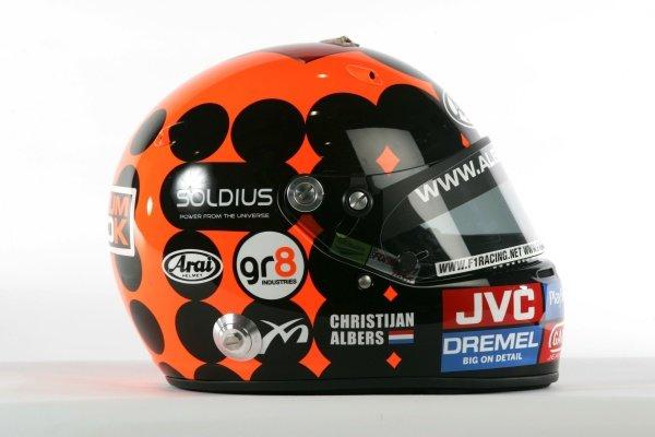 The helmet of Cristijan Albers (NED) Midland MF1 Racing.Midland MF1 Racing, Driver Studio Shoot, Silverstone, England, 2 February 2006. DIGITAL IMAGE