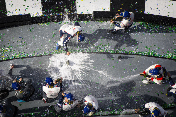 #81 DragonSpeed USA ORECA LMP2 07, LMP2: Ben Hanley, Henrik Hedman, Colin Braun, Harrison Newey, #52 PR1 Mathiasen Motorsports ORECA LMP2 07, LMP2: Ben Keating, Simon Trummer, Gabriel Aubry, Nick Boulle, and #18 Era Motorsport ORECA LMP2 07, LMP2: Kyle Tilley, Dwight Merriman, Ryan Lewis, Nic Minassian celebrate